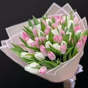 Нежный букет 39 белых и розовых тюльпанов R115
