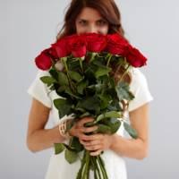 Букет 15 высоких красных роз R521